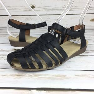 Clarks Black Leather Fisherman Sandals Ankle Strap